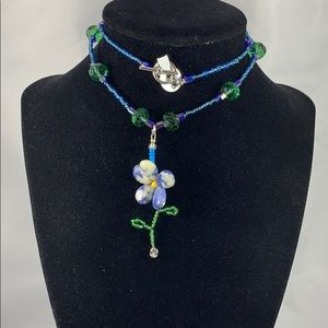 JennStone Jewelry Jewelry - Blue & white petal flower pendant w/ glass accents